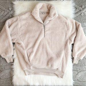 Cream half zip fleece pullover